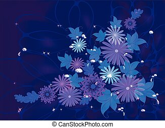 Flowers on deep blue background with dew and stars. EPS10 vector illustration