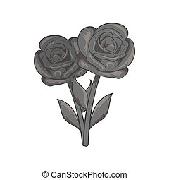 Flowers on grave icon, black monochrome style - Flowers on...