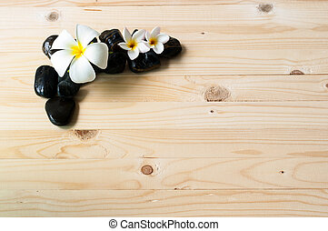 Flowers on group of black stone.