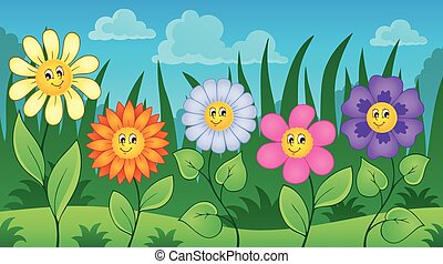 Flowers on meadow theme 3