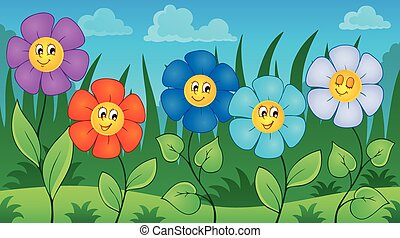 Flowers on meadow theme 6