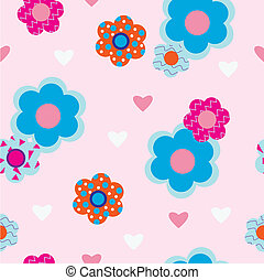 Flowers on  pink background with h