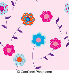 Flowers on pink background with l
