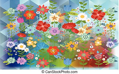flowers on rainbow triangles background