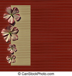 Flowers on Red and Cream Background - Flowers on Red and...
