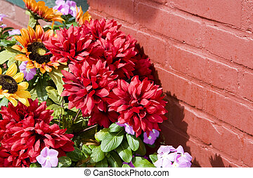 Flowers on Red Brick