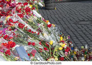 Flowers on the barricades of Kiev