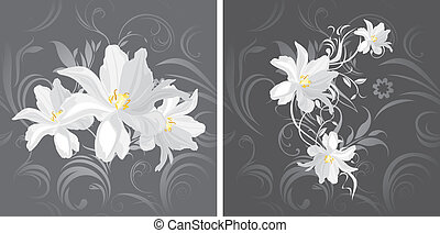 Flowers on the gray background