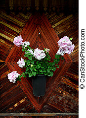 Flowers on the Wooden Wall