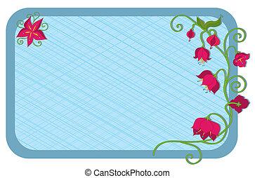 Flowers on vine in corner