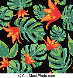 Flowers orange and green leaves seamless background