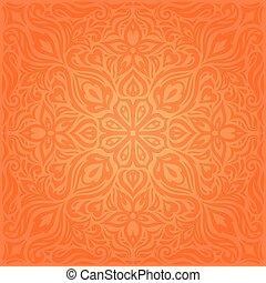Flowers Orange Retro style colorful Floral mandala wallpaper background