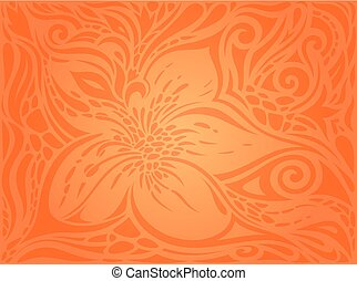 Flowers Orange Retro style colorful Floral wallpaper background