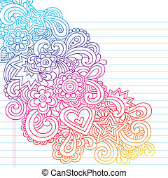 Groovy Psychedelic Flower Outline Doodles Design Element on Lined Sketchbook Paper Background- Vector Illustration