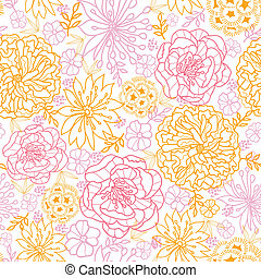 Flowers outlined seamless pattern background