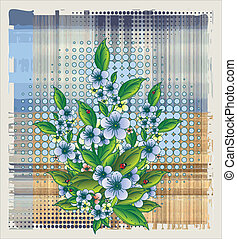 flowers over halftone background