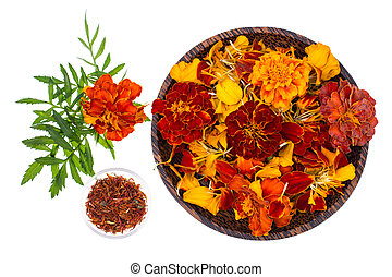 Flowers, petals and seeds of marigolds