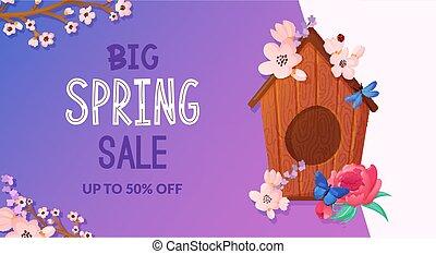 flowers., primavera, birdhouse madeira, decorado