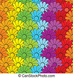 Flowers rainbows - seamless vector background of the flowers...