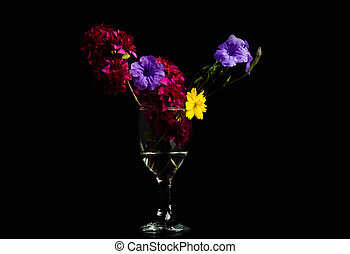 Flowers, red, purple, yellow