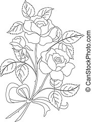 Flowers rose, contour - Flowers, rose bouquet, love symbol, ...
