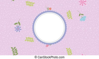 flowers round frame template floral decoration