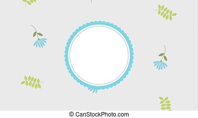 flowers round frame template floral decoration animation hd