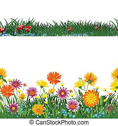 flowers seamless - Seamless horizontally.