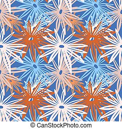 Flowers seamless hand craft expressive ink pattern. Funky style painted texture, poster with different doodles for fabric, wrapping, decoration, greeting card, textiles or t-shirt apparel design.