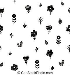 Flowers seamless pattern in scandinavian style
