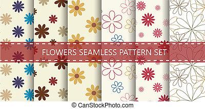 Flowers seamless pattern. Vector set.