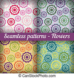 Flowers Seamless pattern Vector set Abstract background