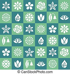 Flowers seamless pattern with flat glyph icons. Floral background beautiful garden plants chamomile, sunflower, rose flower, lotus, carnation, dandelion, violet blossom. Green color