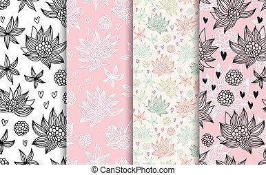 Flowers seamless vector patterns set, baby backgrounds