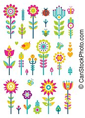 Flowers Set Bird and Butterfly Vector Illustration