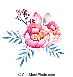 Flowers set. Colorful floral bouquet with leaves and flowers...