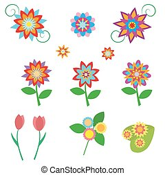 Flowers set in a flat style isolated on white background. Vector, illustration EPS10.