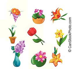 Flowers set. Raster illustration in flat cartoon style