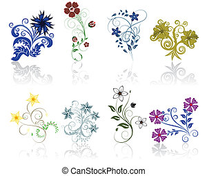 flowers set - Set of different flower and leaves for self-...