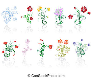 flowers set - Set of different flower and leaves for...