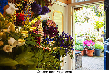 flowers shop with garden