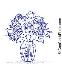 Flowers sketch - Abstract vector illustration of a vase of...