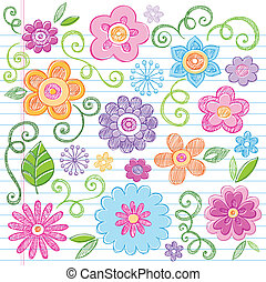 Colorful Flowers Sketchy Doodles Hand-Drawn Back to School Notebook Vector Illustration Design Elements on Lined Sketchbook Paper Background