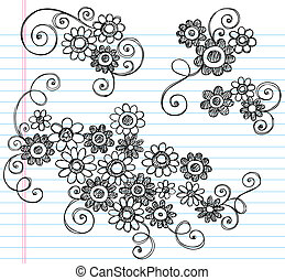 Flowers Sketchy Doodle Vector Set