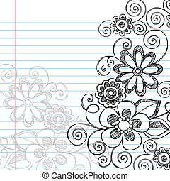 Hand-Drawn Sketchy Flowers and Vines Notebook Doodles on Lined Paper Background- Vector Illustration