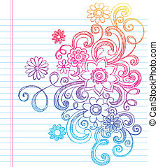 Flowers and Vines Sketchy Back to School Doodles- Notebook Doodle Vector Illustration Design Elements on Lined Sketchbook Paper Background