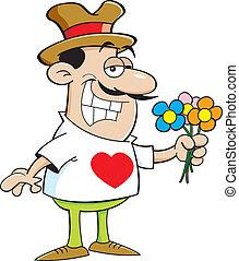 flowers., spotprent, vasthouden, man