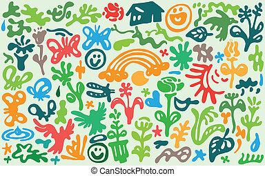 flowers , spring - doodles set