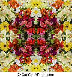 Flowers, Spring style seamless background pattern - For easy making seamless pattern use it for filling any contours