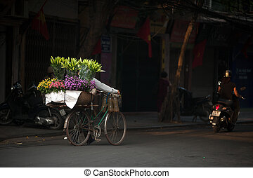Flowers street vendor at Hanoi city, Vietnam.